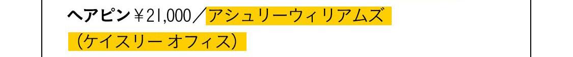 ヘアピン¥21,000/アシュリーウィリアムズ(ケイスリー オフィス)